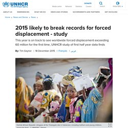 UNHCR - 2015 likely to break records for forced displacement - study