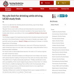 No safe limit for drinking while driving, UCSD study finds