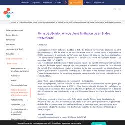 Limitation ou arrêt des traitements : Fiche de décision-SFAR