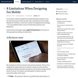 8 Limitations When Designing For Mobile