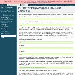 14. Arithmétique en nombres à virgule flottante : problèmes et limites — Documentation Python 2.7.16