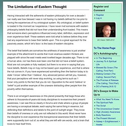 The Limitations of Eastern Thought - THE AWAKENING SELF