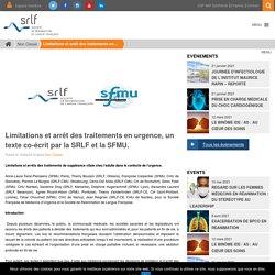 Limitations et arrêt des traitements en urgence, un texte co-écrit par la SRLF et la SFMU. - SRLF