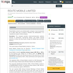 ROUTE MOBILE LIMITED - Company Information, Financial Reports, Balance Sheets