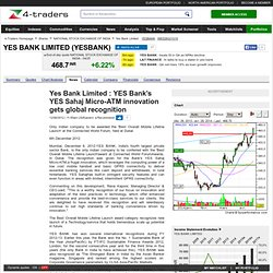 Yes Bank Limited : YES Bank's YES Sahaj Micro-ATM innovation gets global recognition
