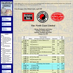 The North Coast Limited - April, 1959 - StreamlinerSchedules.com