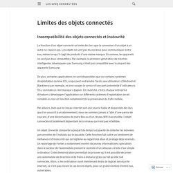 Limites des objets connectés