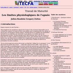 Les limites physiologiques de l'apnée Julien Baudoin Gregory Zottos avec F. Lombard à Calvin