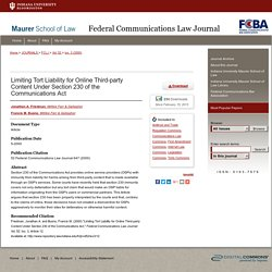 """Limiting Tort Liability for Online Third-party Content Under Section 2"" by Jonathan A. Friedman and Francis M. Buono"