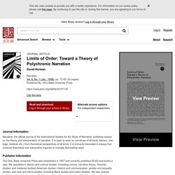 Limits of Order: Toward a Theory of Polychronic Narration on JSTOR
