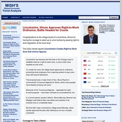 Mish's Global Economic Trend Analysis: Lincolnshire, Illinois Approves Right-to-Work Ordinance; Battle Headed for Courts