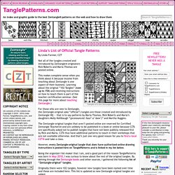 Linda's List of Official Tangle Patterns