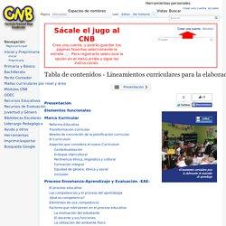 Tabla de contenidos - Lineamientos curriculares para la elaboración de materiales de aprendizaje - CNB