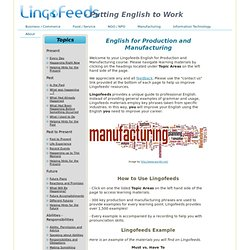 Lingofeeds - English at Work - English for Production and Manufacturing