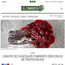 Lingote de chocolate fundente con coulis de frutos rojos
