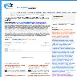 Linguamatics' I2E Text Mining Platform Chosen by FDA - businesswire.com - Industry News from LT-Innovate