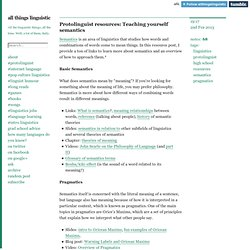 Protolinguist resources: Teaching yourself semantics