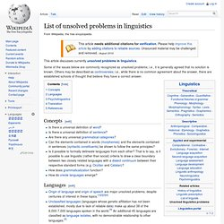 List of unsolved problems in linguistics