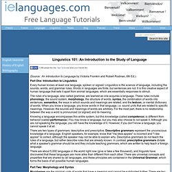 Linguistics 101: An Introduction to the Study of Language