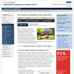 BA English Language and Linguistics - Language and Linguistic Science, The University of York