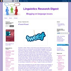 Linguistics Research Digest: #Tweet #Tweet