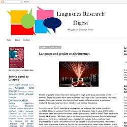 Linguistics Research Digest: Language and gender on the internet