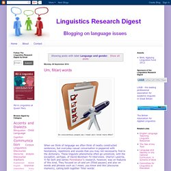 Linguistics Research Digest: Language and gender