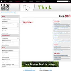 Linguistics - New Zealand English Journal Back Issue - College of Arts - University of Canterbury - New Zealand