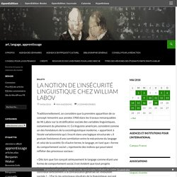 La notion de l'insécurité linguistique chez William Labov