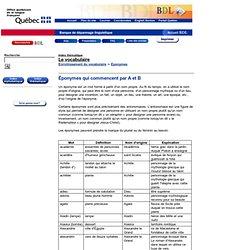 Éponymes qui commencent par A et B