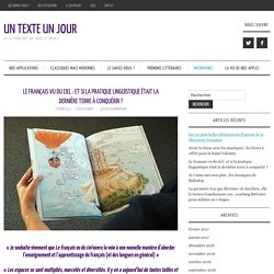 Le français vu du ciel : et si la pratique linguistique était la dernière terre à conquérir ? – Un Texte Un Jour