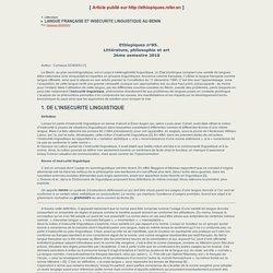 LANGUE FRANÇAISE ET INSECURITE LINGUISTIQUE AU BENIN - Ethiopiques - Revue negro-africaine de littérature et de philosophie.