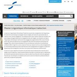 Strasbourg Master Linguistique informatique traduction