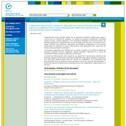 Formation linguistique : un nouvel enjeu des politiques d'intégration ? Du droit à la langue aux politiques publiques de formation linguistique à destination des adultes immigrés - ORIV - Alsace