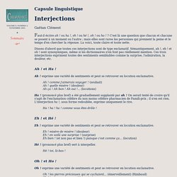 Capsule linguistique : Interjections