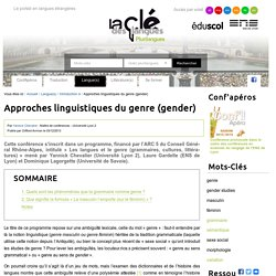 Approches linguistiques du genre (gender) — Plurilangues