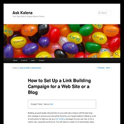 How to Set Up a Link Building Campaign for a Web Site or a Blog | Ask Kalena
