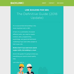 Link Building for SEO: The Definitive Guide (2018)