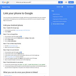 Link your phone to Google - Search Help