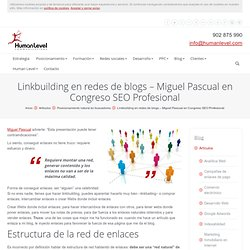 Linkbuilding en redes de blogs - Miguel Pascual en Congreso SEO Profesional | Human Level Communications