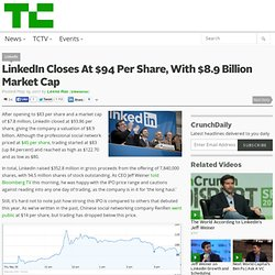 LinkedIn Closes At $94 Per Share, With $8.9 Billion Market Cap