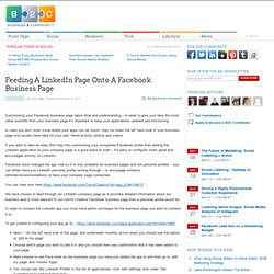 Feeding A LinkedIn Page Onto A Facebook Business Page