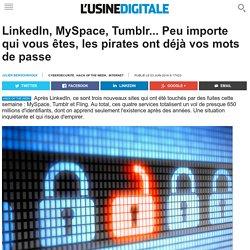 LinkedIn, MySpace, Tumblr... Peu importe qui vous êtes, les pirates ont déjà vos mots de passe