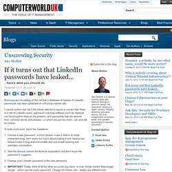 If it turns out that LinkedIn passwords have leaked... - Unscrewing Security