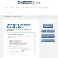 LinkedIn Tip Sheet Error And a New Hack