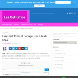 Links List. Créer et partager une liste de liens