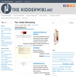 Tor Links Directory - The Hidden Wiki