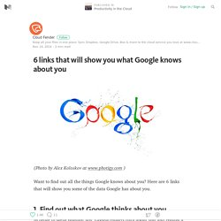 6 links that will show you what Google knows about you — Productivity in the Cloud