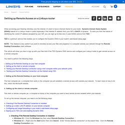 Official Support - Setting up Remote Access on a Linksys router