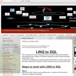 LINQ Study Material: LINQ-Hour 2 (LINQ to SQL)